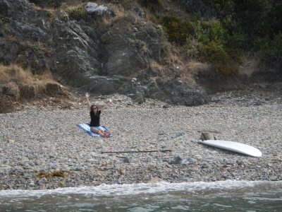 Paddled to shore